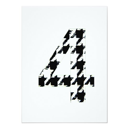 Houndstooth Print Number Four Card