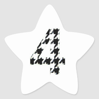 Houndstooth Print Number Four Star Sticker