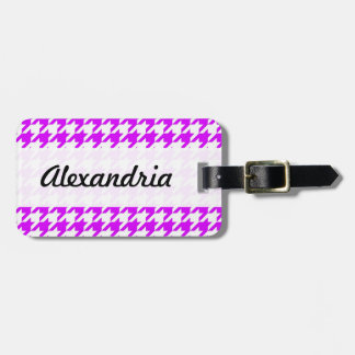 Houndstooth Purple White Decorative Art Pattern Tags For Luggage
