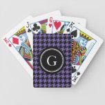 Houndstooth púrpura clásico de moda con el monogra barajas de cartas