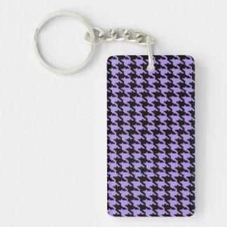 Houndstooth púrpura y negro del vintage llavero rectangular acrílico a doble cara