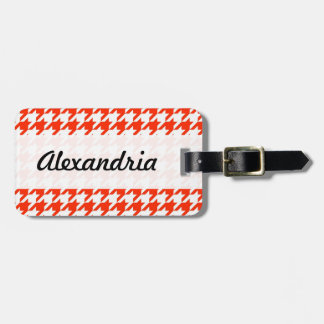 Houndstooth Red and White Decorative Art Pattern Luggage Tags