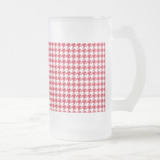 Houndstooth RED ANY COLOR BACKGROUND Frosted Glass Beer Mug