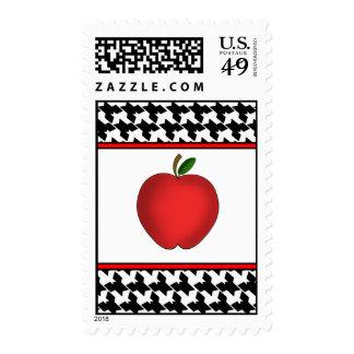 Houndstooth Red Apple Teacher postage stamp