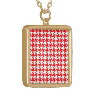 houndstooth red (I) Gold Plated Necklace