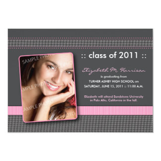 Houndstooth Ribbon Graduation Announcement (pink)