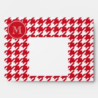 Houndstooth rojo y blanco su monograma