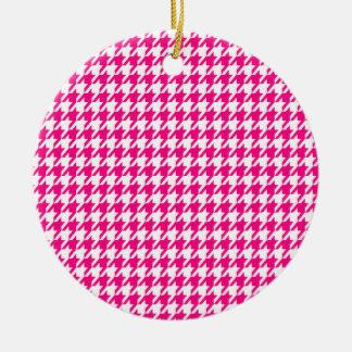 Houndstooth rosado brillante adornos de navidad