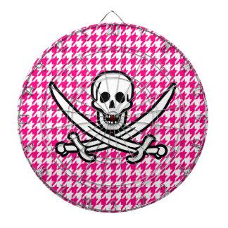Houndstooth rosado brillante; Pirata alegre de Rog Tabla Dardos