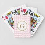 Houndstooth rosado de moda elegante con el monogra barajas de cartas