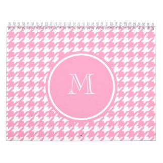 Houndstooth rosado y blanco femenino su monograma calendario