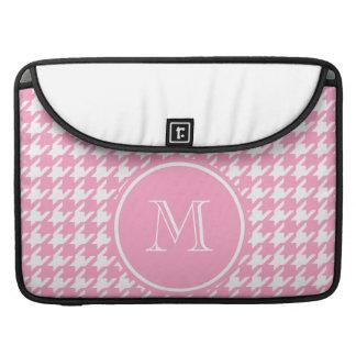 Houndstooth rosado y blanco femenino su monograma funda macbook pro