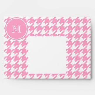 Houndstooth rosado y blanco femenino su monograma