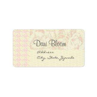 Houndstooth rosado y etiqueta de dirección floral