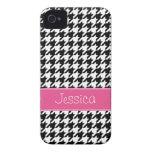 Houndstooth rosado y negro de muy buen gusto perso iPhone 4 protector