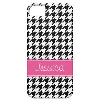 Houndstooth rosado y negro de muy buen gusto perso iPhone 5 carcasas