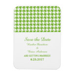 Houndstooth Save the Date Magnet, Green