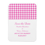 Houndstooth Save the Date Magnet, Pink