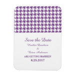 Houndstooth Save the Date Magnet, Purple