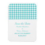Houndstooth Save the Date Magnet, Turquoise