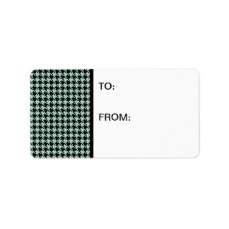 Houndstooth Seafoam and Black Label