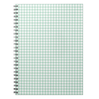 Houndstooth Seafoam and White Spiral Notebook