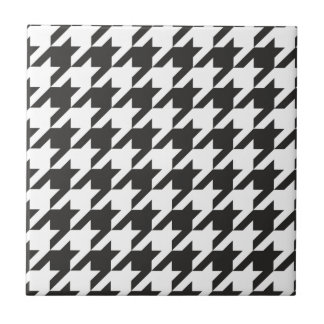 Houndstooth seamless grey, black and white pattern ceramic tile