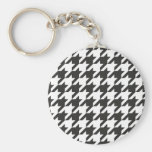 Houndstooth seamless grey, black and white pattern key chains
