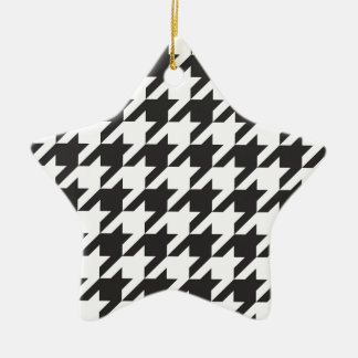 Houndstooth seamless grey, black and white pattern christmas tree ornaments