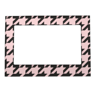 Houndstooth seamless pastel pink and black pattern magnetic frame