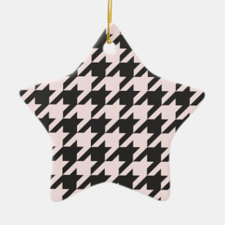 Houndstooth seamless pastel pink and black pattern ornaments