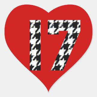 Houndstooth Seventeen Heart Sticker
