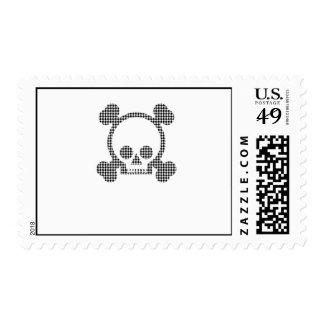 houndstooth skull postage stamp