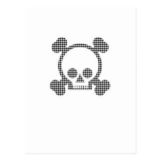 houndstooth skull postcard