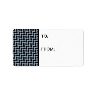 Houndstooth Slate and Black Address Label