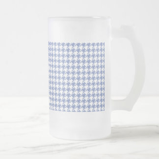 Houndstooth SLATE BLUE ANY COLOR BACKGROUND Frosted Glass Beer Mug