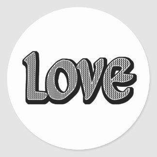 Houndstooth Small Love Classic Round Sticker