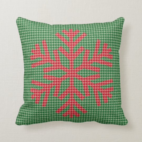 Houndstooth Snowflake Pillow — SQUARE