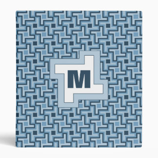 Houndstooth Style Geometric Tessellation in Blue 3 Ring Binder