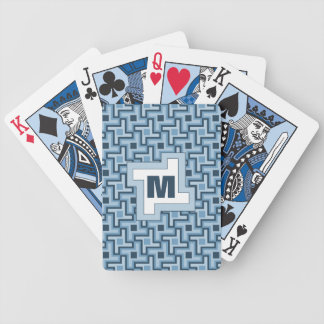 Houndstooth Style Geometric Tessellation in Blue Bicycle Playing Cards