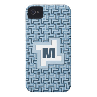 Houndstooth Style Geometric Tessellation in Blue iPhone 4 Case-Mate Cases