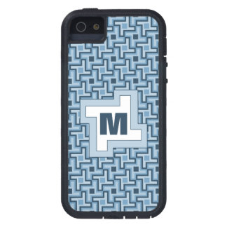 Houndstooth Style Geometric Tessellation in Blue iPhone 5 Cover