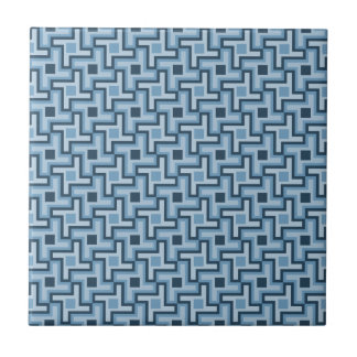 Houndstooth Style Geometric Tessellation in Blue Ceramic Tile