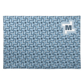 Houndstooth Style Geometric Tessellation in Blue Cloth Placemat