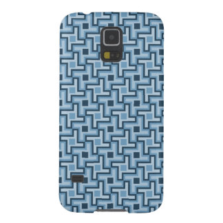 Houndstooth Style Geometric Tessellation in Blue Galaxy S5 Covers