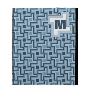 Houndstooth Style Geometric Tessellation in Blue iPad Folio Cases