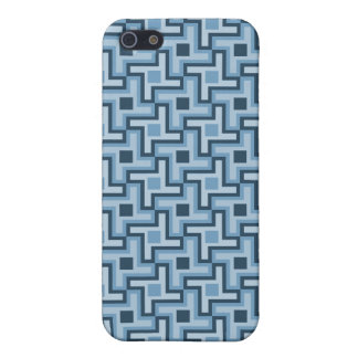 Houndstooth Style Geometric Tessellation in Blue iPhone 5 Cases