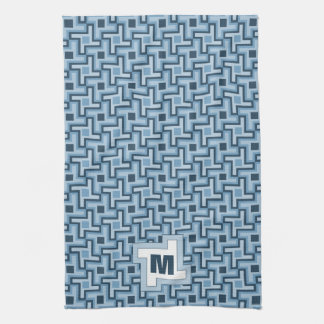 Houndstooth Style Geometric Tessellation in Blue Kitchen Towels