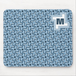 Houndstooth Style Geometric Tessellation in Blue Mouse Pad