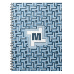 Houndstooth Style Geometric Tessellation in Blue Journal